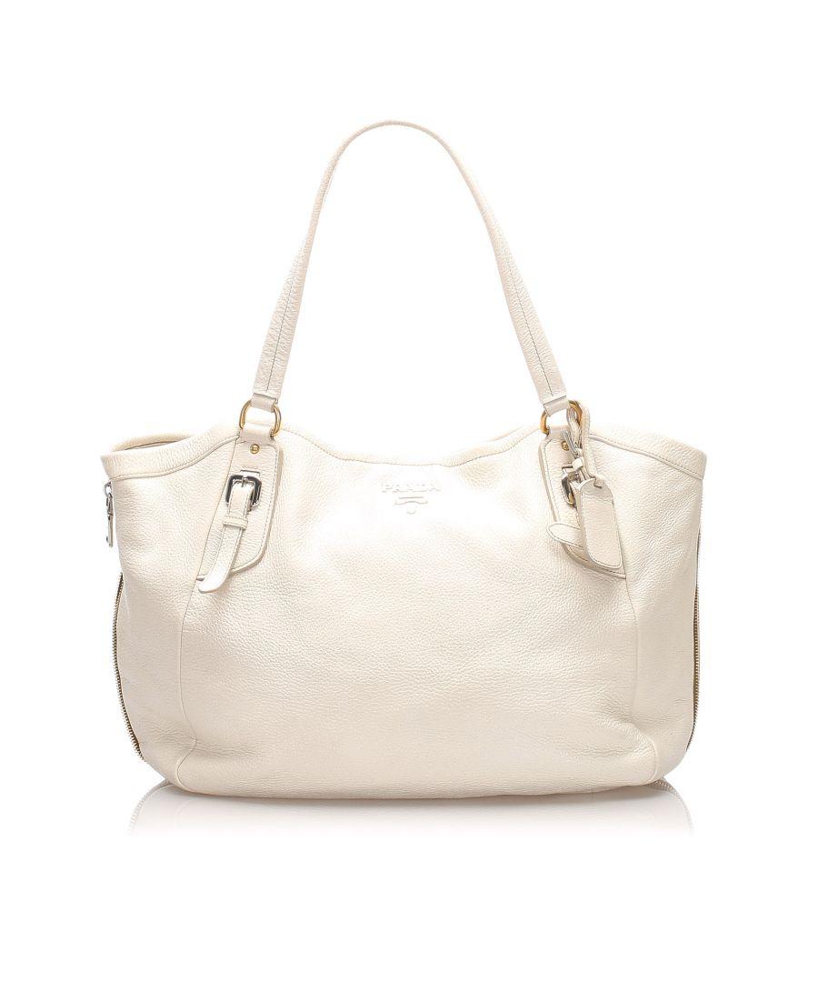 Image for Vintage Prada Vitello Daino Leather Tote Bag White
