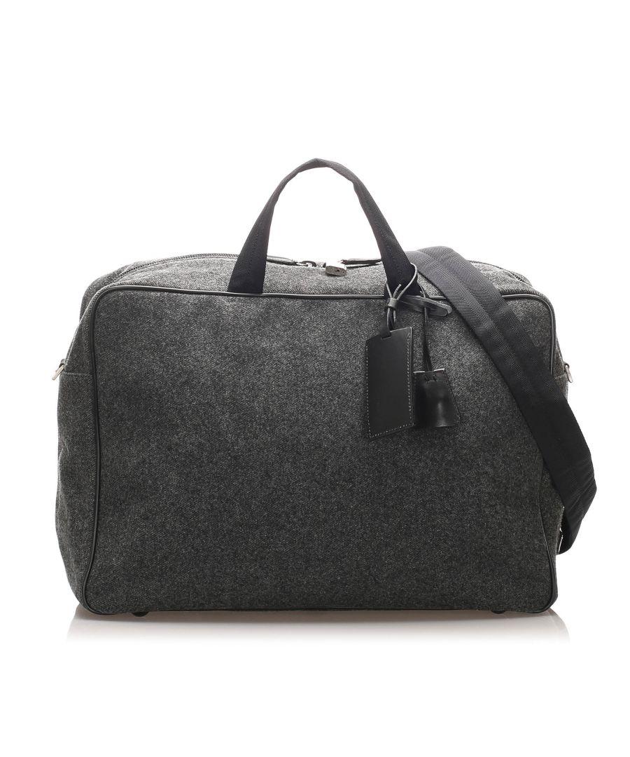 Image for Vintage Prada Wool Business Bag Gray