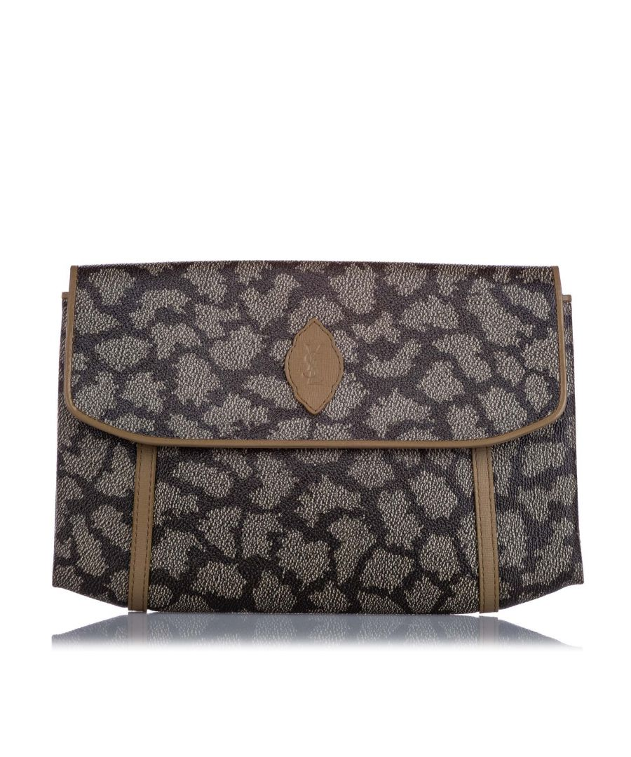 Image for Vintage YSL Printed Flap Clutch Bag Gray