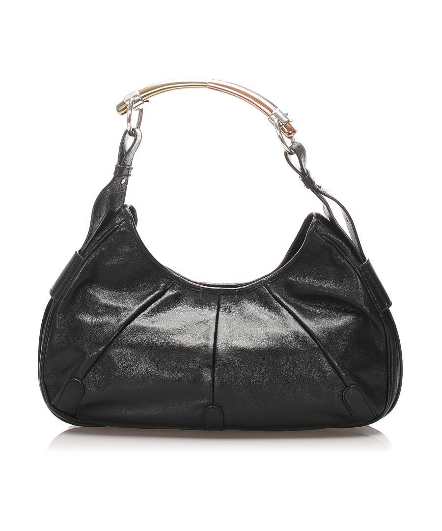 Image for Vintage YSL Mombasa Leather Shoulder Bag Black