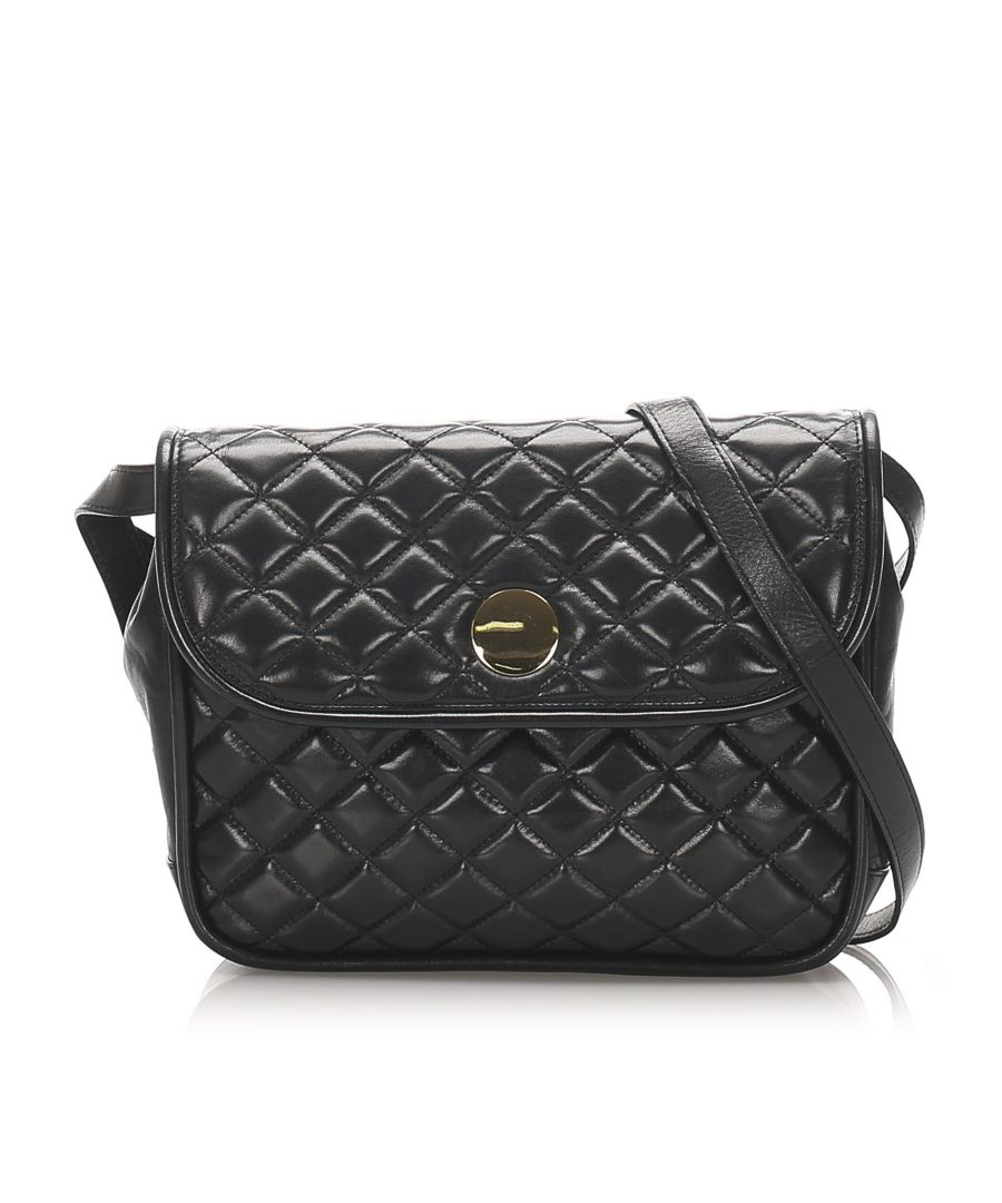 Image for Vintage YSL Quilted Leather Crossbody Bag Black