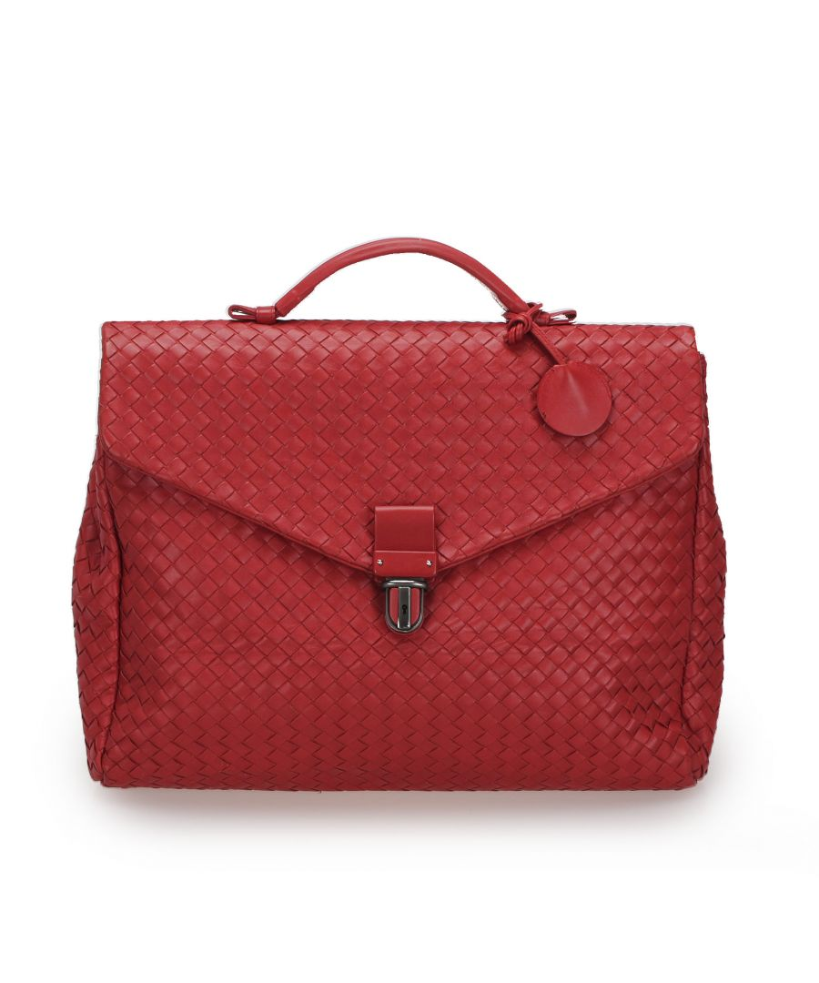 Image for Vintage Bottega Veneta Intrecciato Leather Business Bag Red