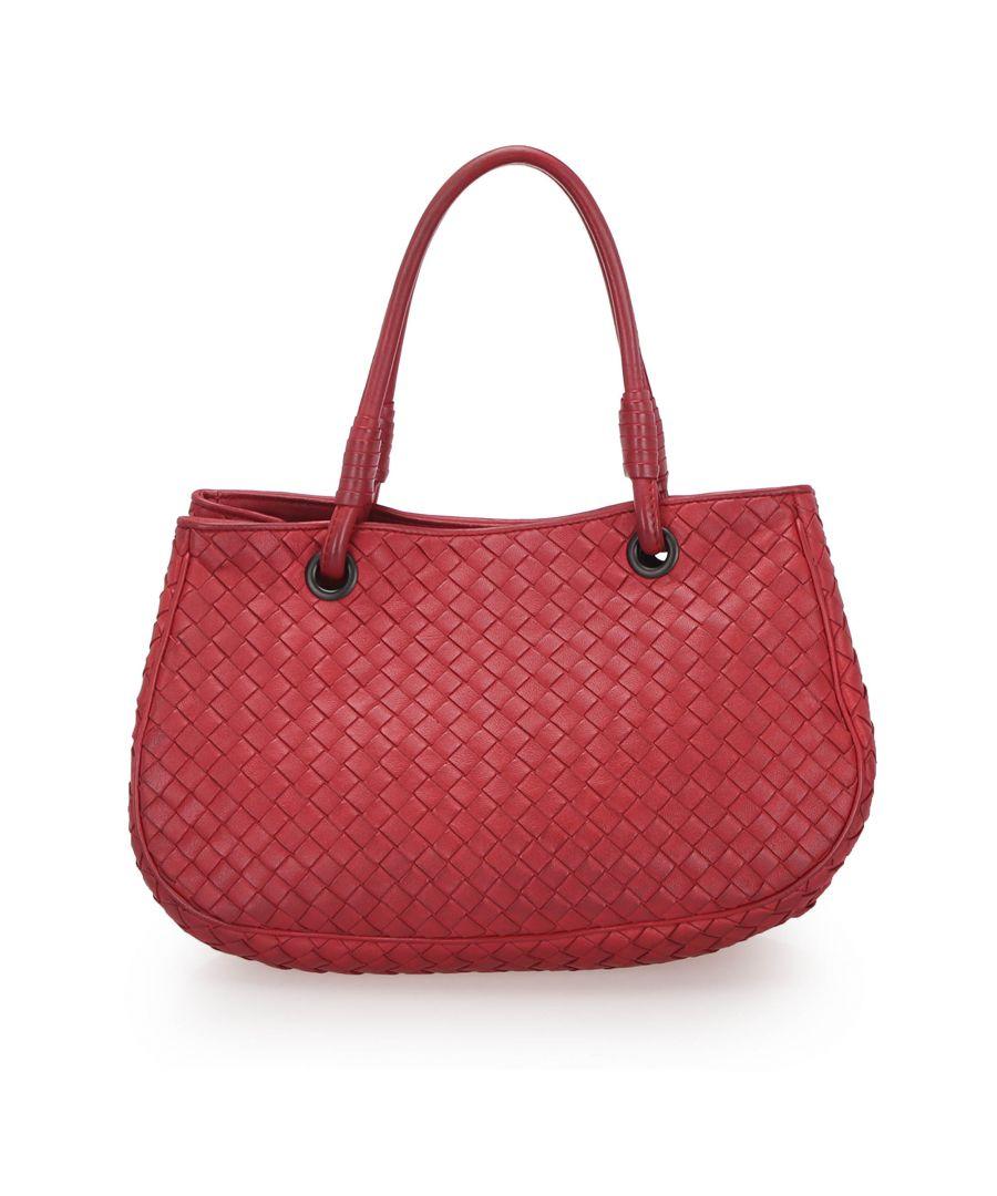 Image for Vintage Bottega Veneta Intrecciato Leather Handbag Red