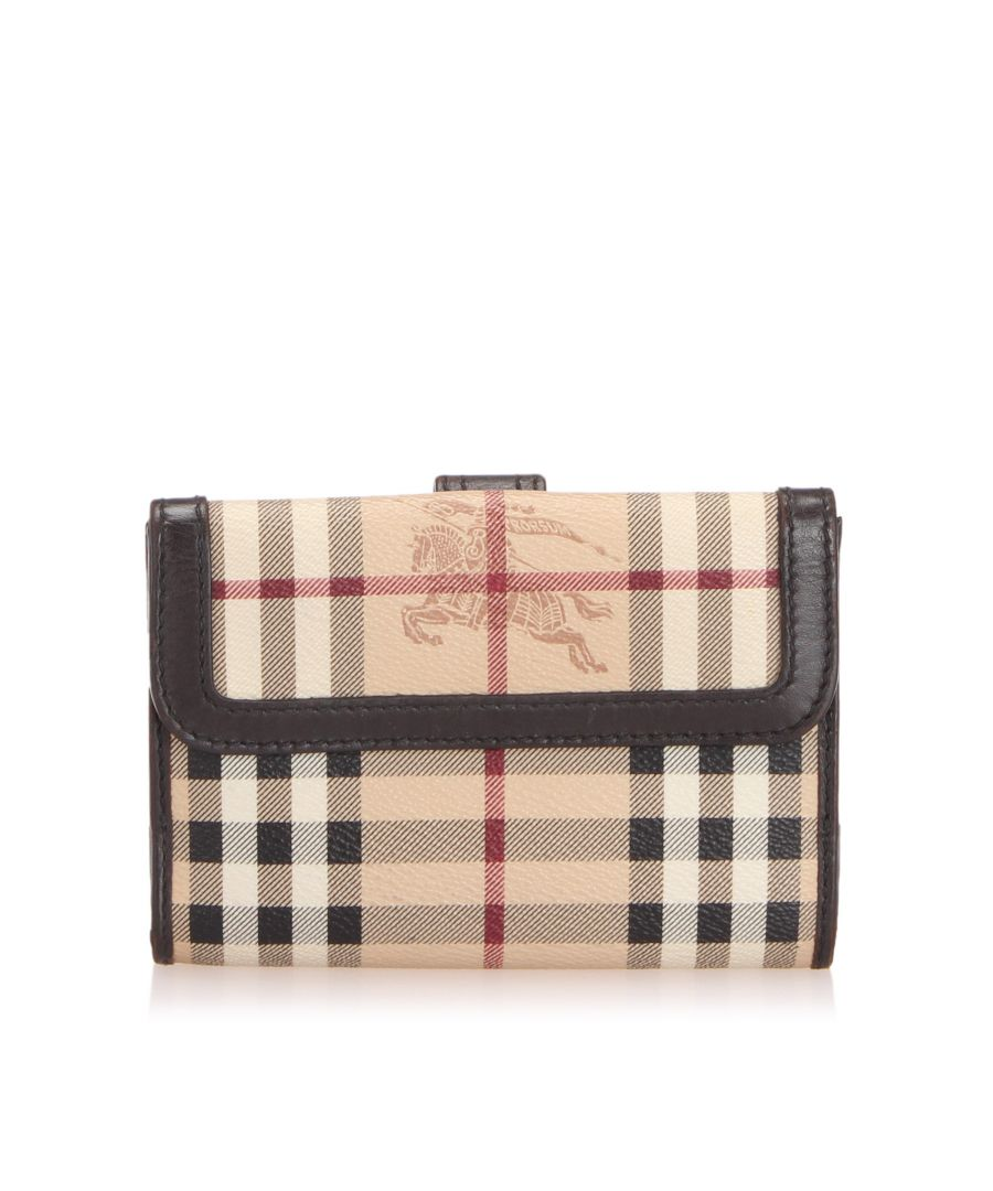 Image for Vintage Burberry Haymarket Check Canvas Wallet Brown