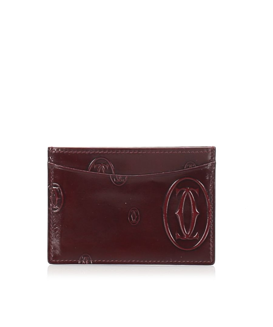 Image for Vintage Cartier Happy Birthday Patent Leather Card Holder Red