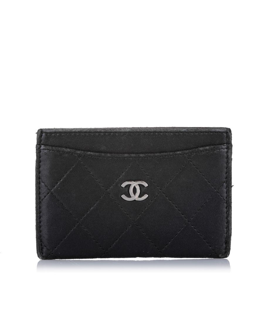 Image for Vintage Chanel CC Matelasse Lambskin Leather Card Holder Black