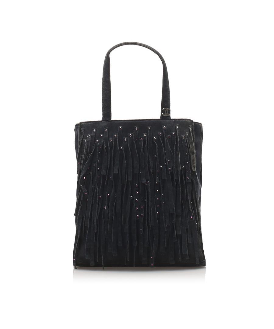 Image for Vintage Chanel Fringe Suede Handbag Black