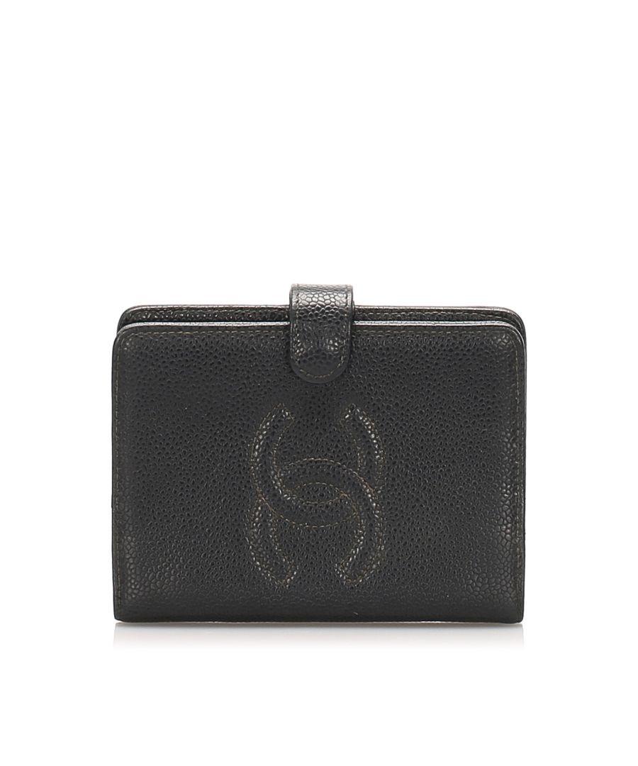 Image for Vintage Chanel CC Caviar Leather Wallet Black