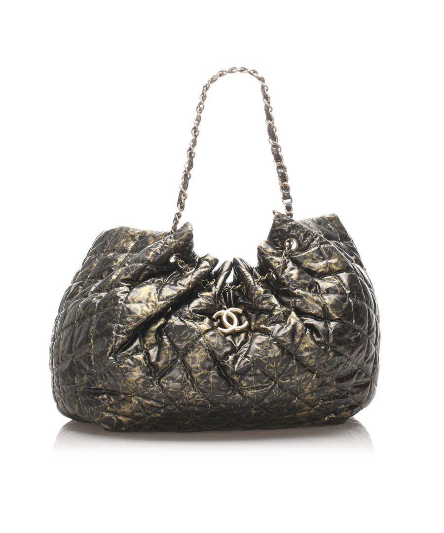 Image for Vintage Chanel XL Cabas Spirit Nylon Tote Bag Black