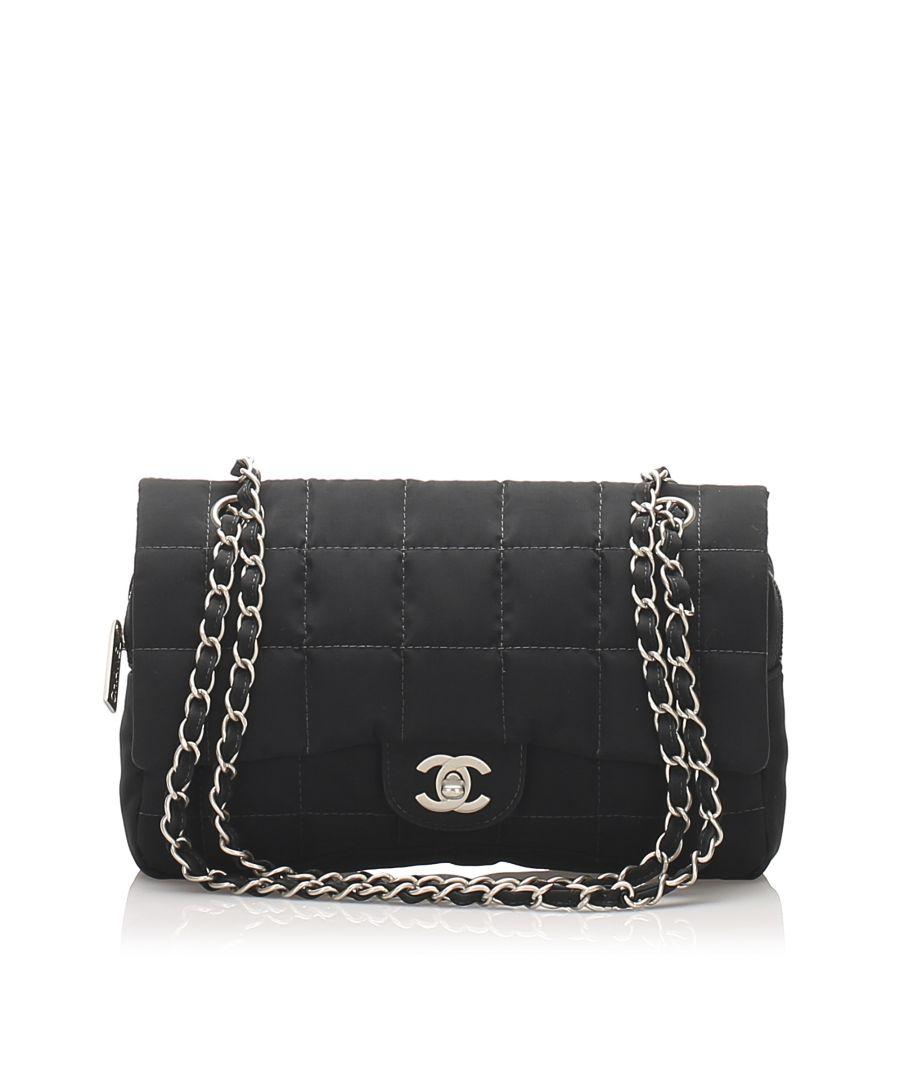 Image for Vintage Chanel Choco Bar Nylon Shoulder Bag Black