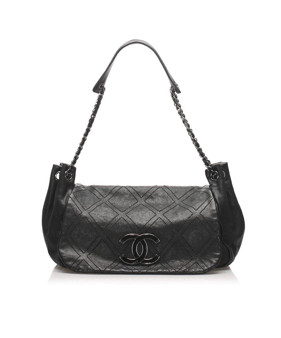 Image for Vintage Chanel Accordion Leather Flap Bag Black