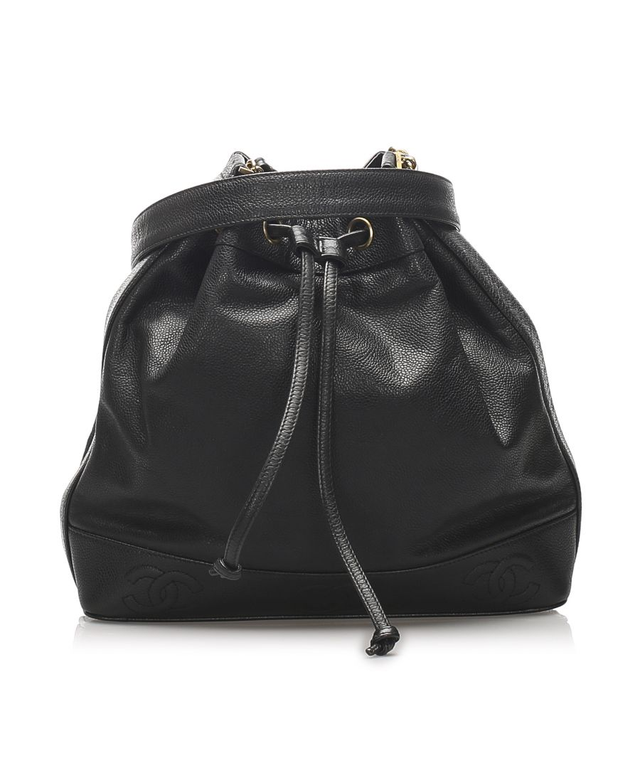 Image for Vintage Chanel CC Lambskin Leather Bucket Bag Black