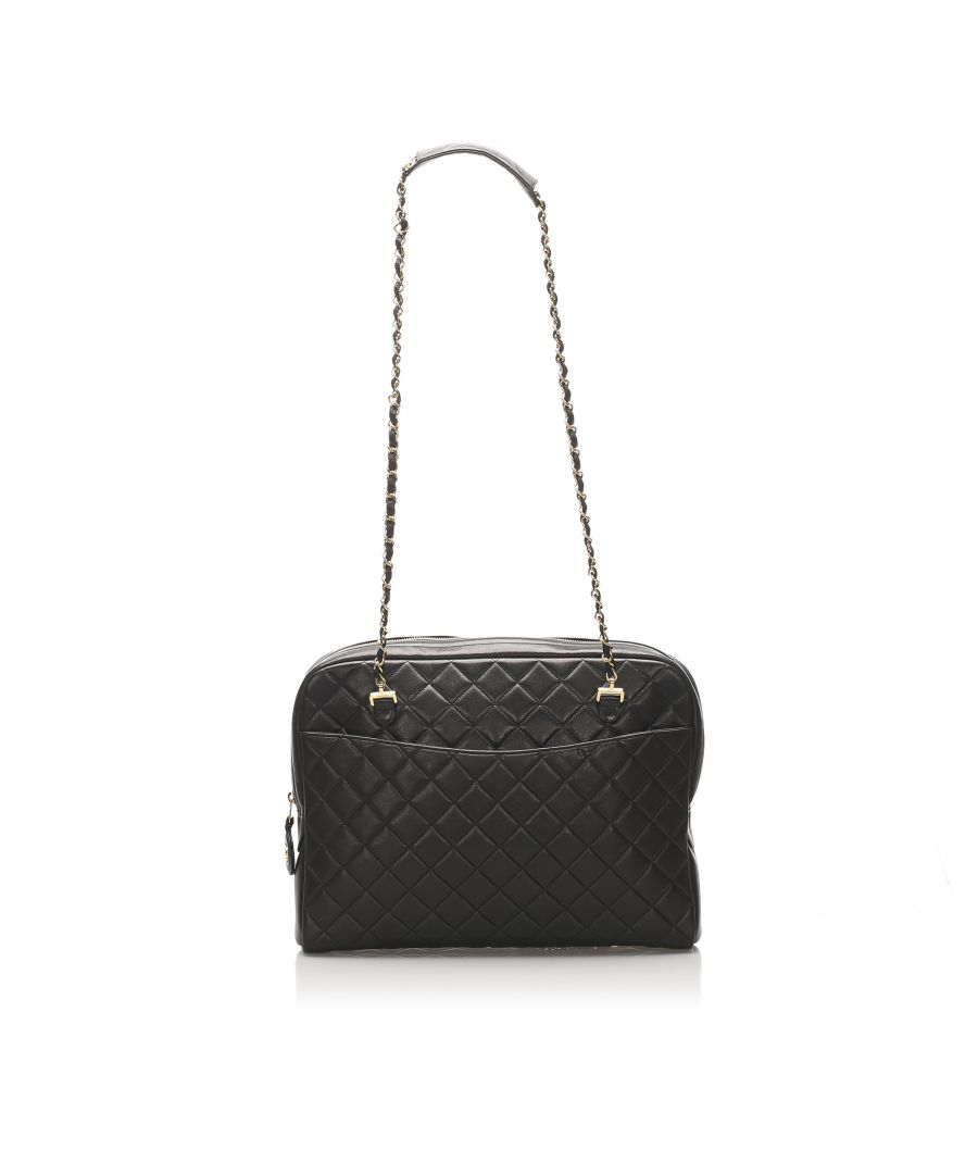 Image for Vintage Chanel Classic Lambskin Leather Shoulder Bag Black