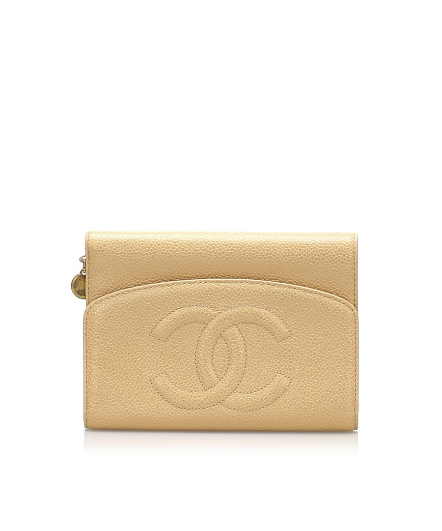 Image for Vintage Chanel CC Caviar Leather Wallet Brown