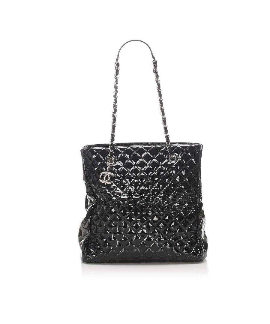 Image for Vintage Chanel Matelasse Patent Leather Tote bag Black