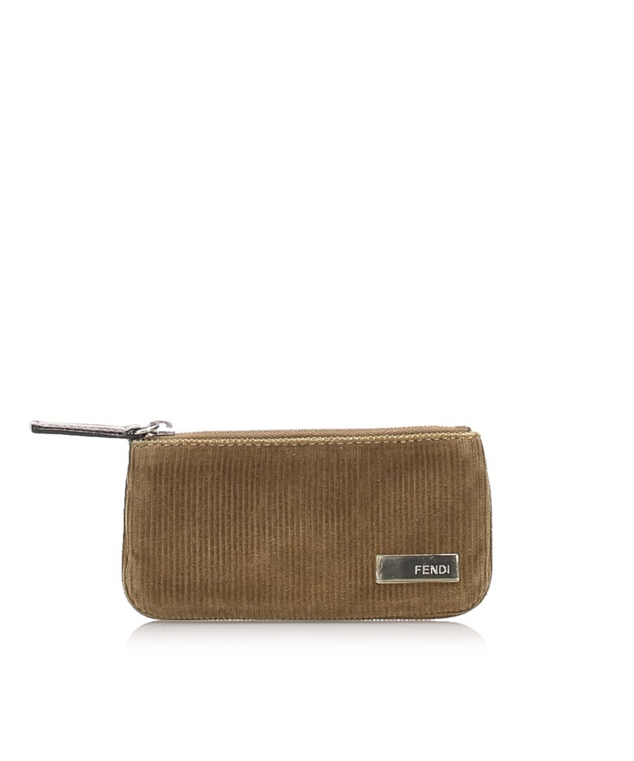 Image for Vintage Fendi Corduroy Coin Pouch Brown