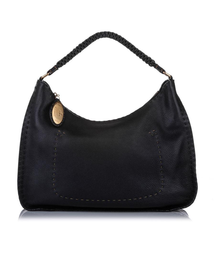 Image for Vintage Fendi Selleria Leather Shoulder Bag Black
