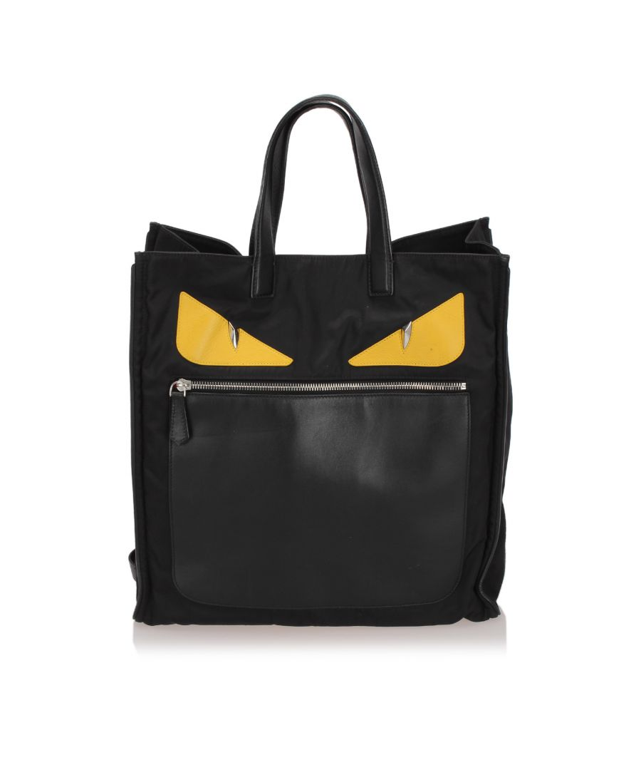 Image for Vintage Fendi Monster Nylon Tote Bag Black