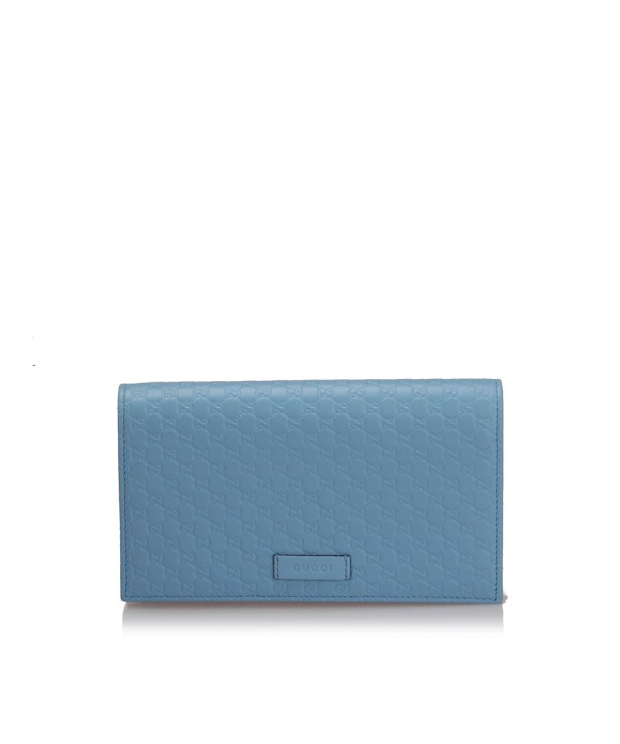 Image for Vintage Gucci Microguccissima Wallet On Strap Blue