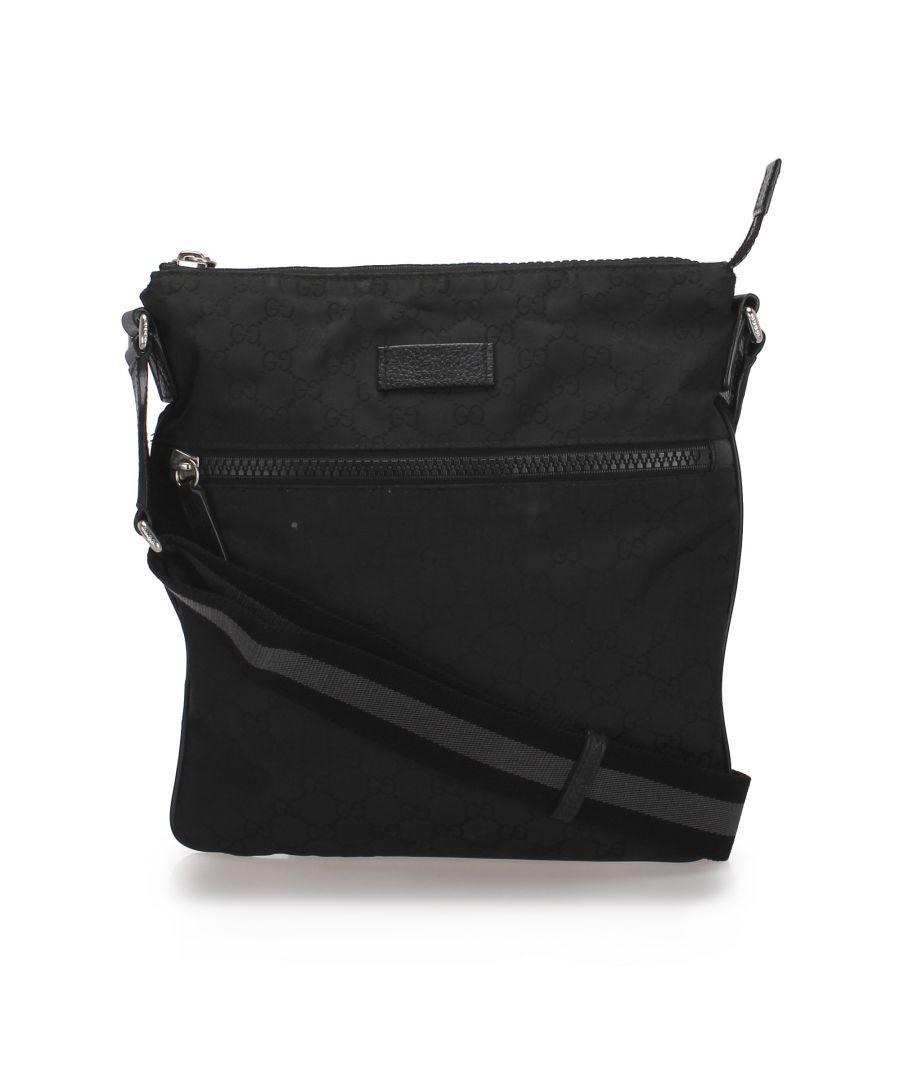 Image for Vintage Gucci GG Canvas Web Crossbody Bag Black