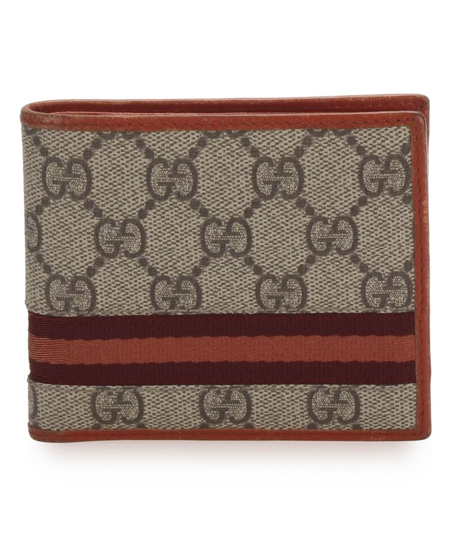 Image for Vintage Gucci GG Supreme Web Wallet Brown