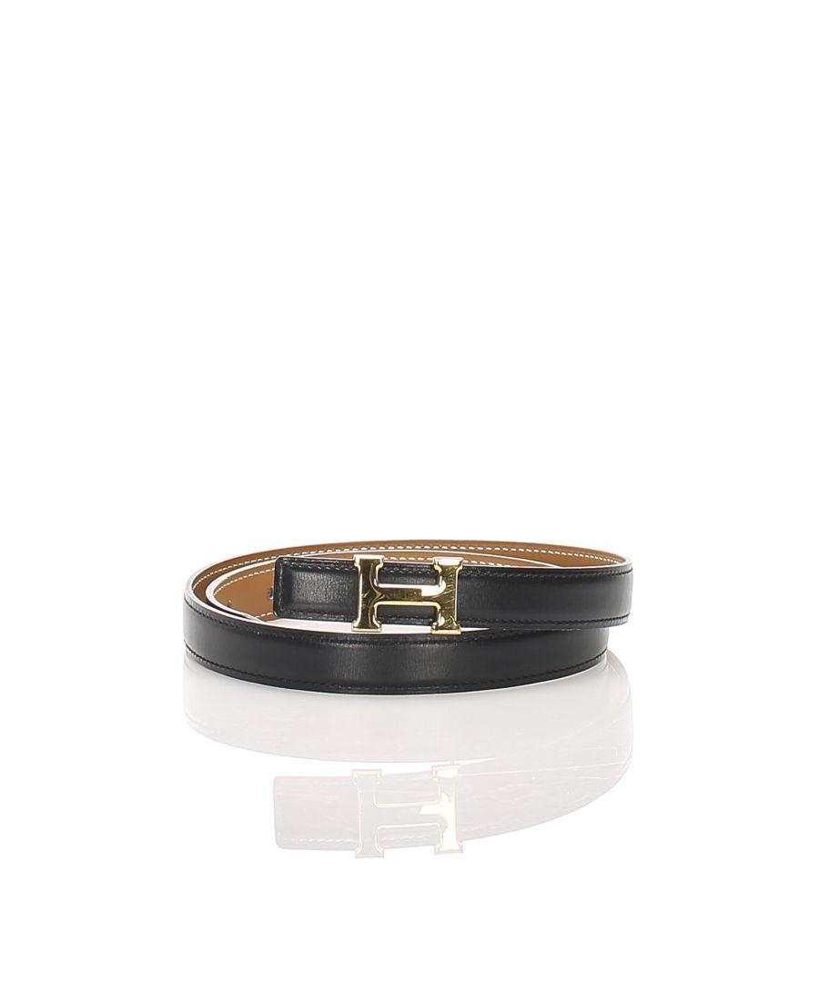 Image for Vintage Hermes Constance Leather Belt Black