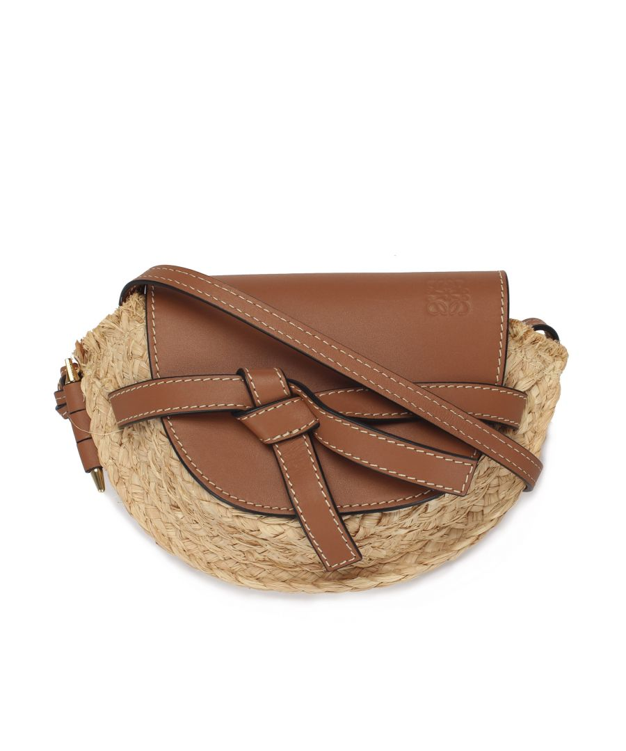 Image for Vintage Loewe Gate Raffia Crossbody Bag Brown