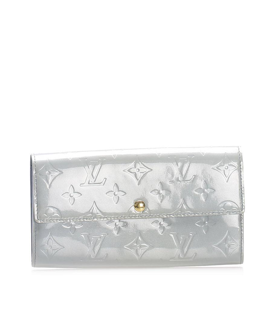 Image for Vintage Louis Vuitton Vernis Sarah Long Wallet Gray