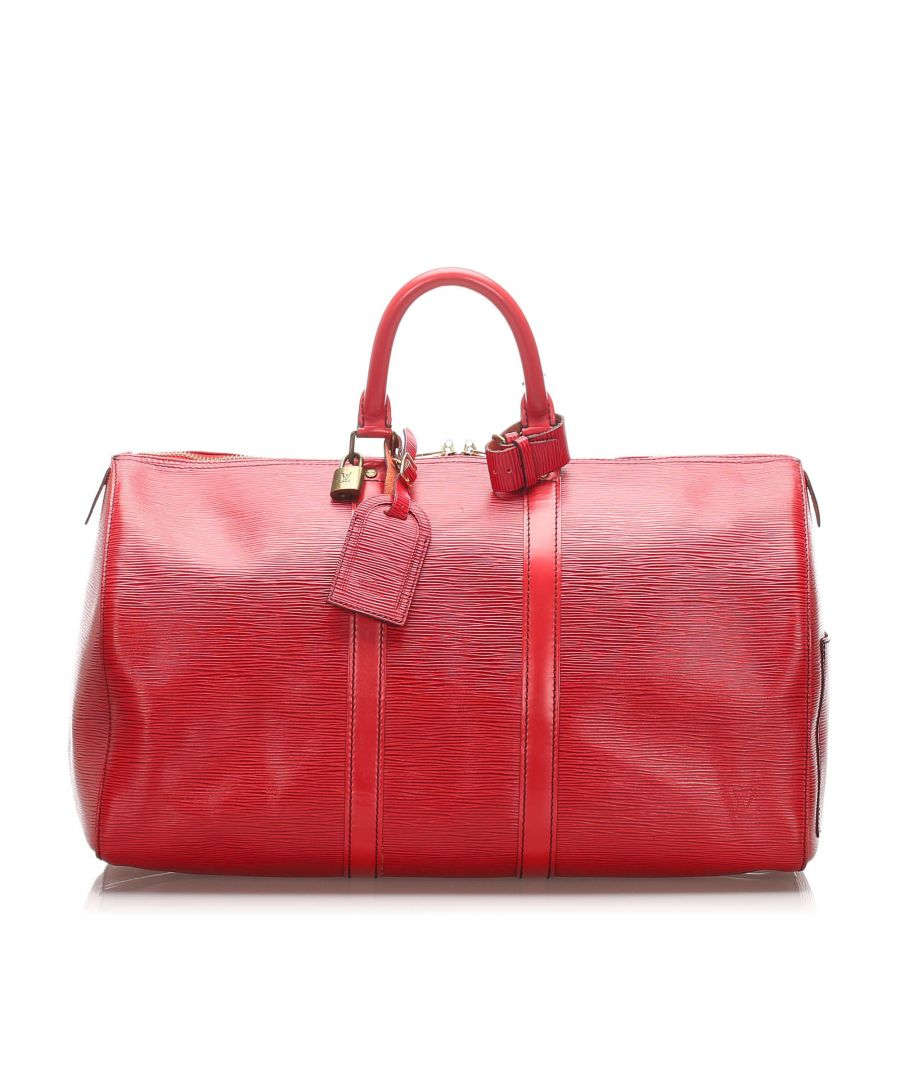 Image for Vintage Louis Vuitton Epi Keepall 45 Red
