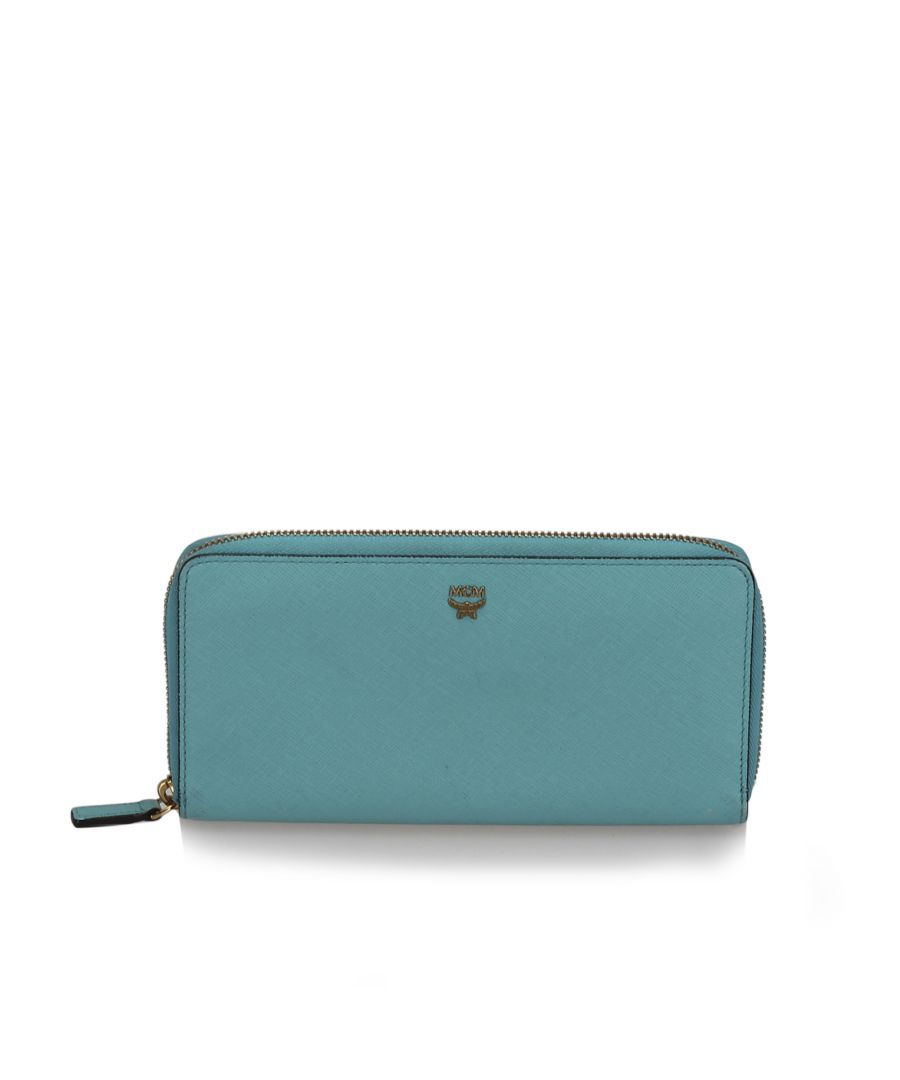 Image for Vintage MCM Leather Zip Around Wallet Blue