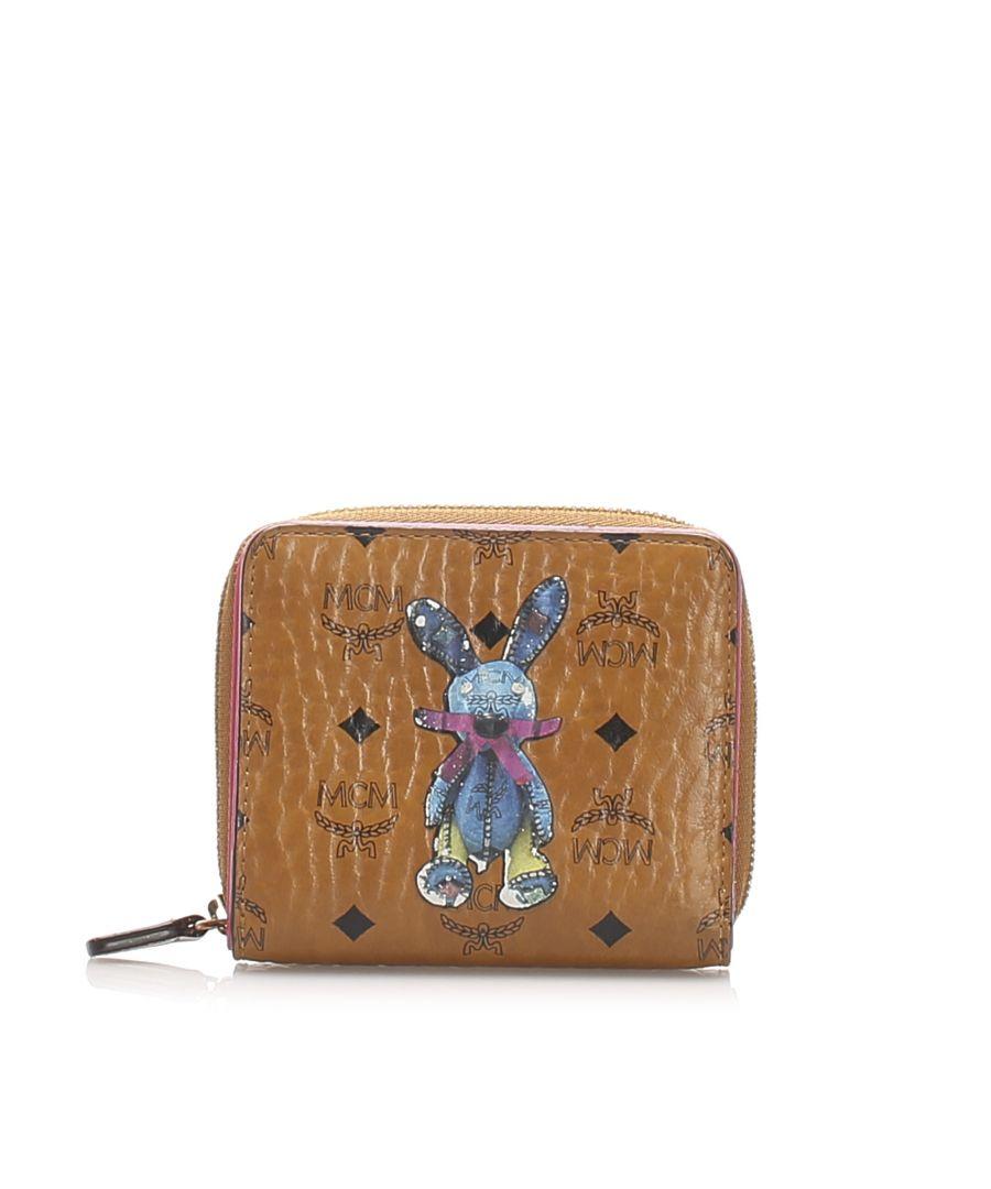 Image for Vintage MCM Visetos Mini Rabbit Leather Wallet Brown