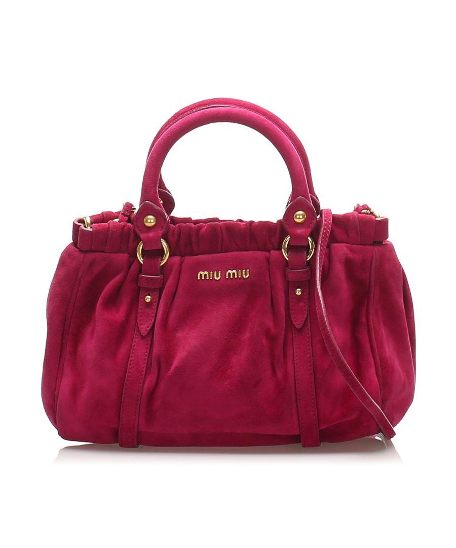 Image for Vintage Miu Miu Suede Crossbody Bag Pink