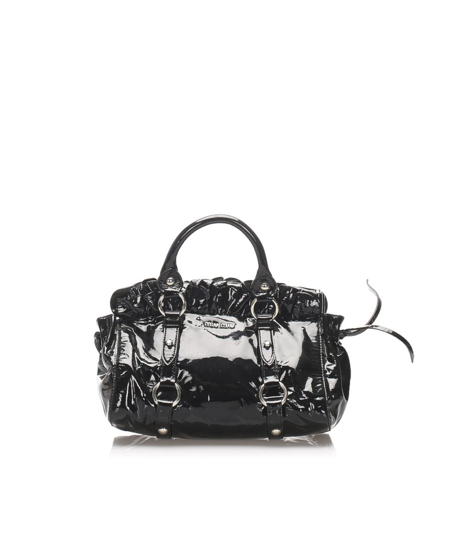 Image for Vintage Miu Miu Patent Leather Handbag Black