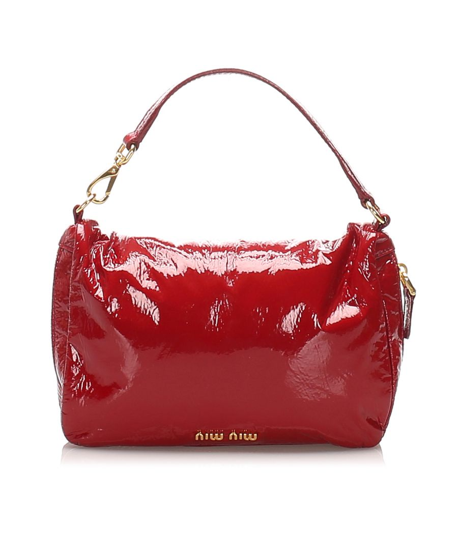 Image for Vintage Miu Miu Patent Leather Handbag Red