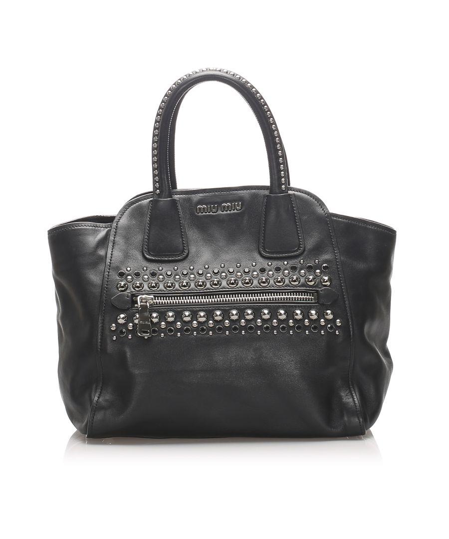 Image for Vintage Miu Miu Studded Leather Handbag Black