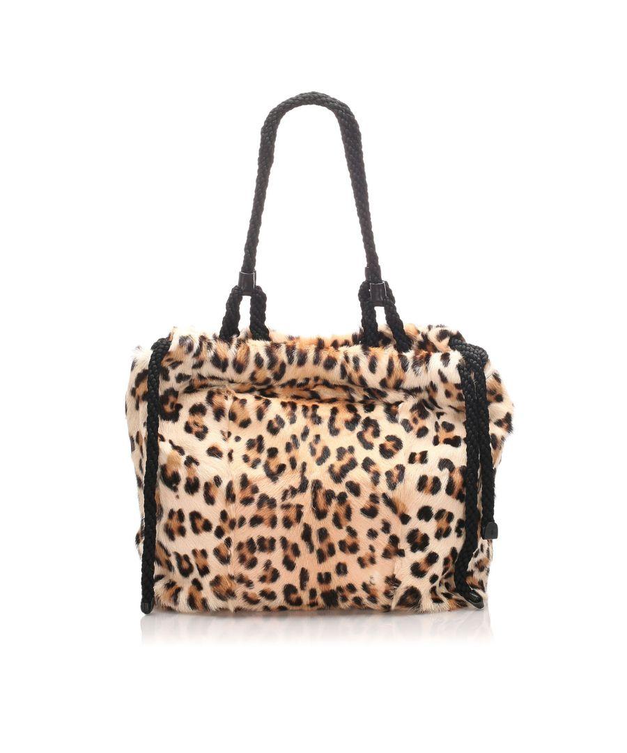 Image for Vintage Miu Miu Leopard Fur Tote Bag Brown