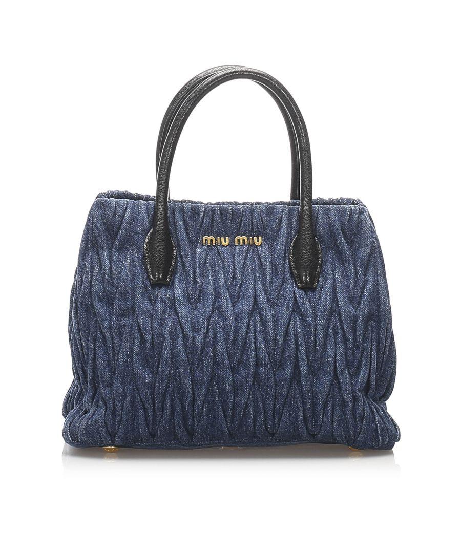 Image for Vintage Miu Miu Matelasse Denim Tote Bag Blue