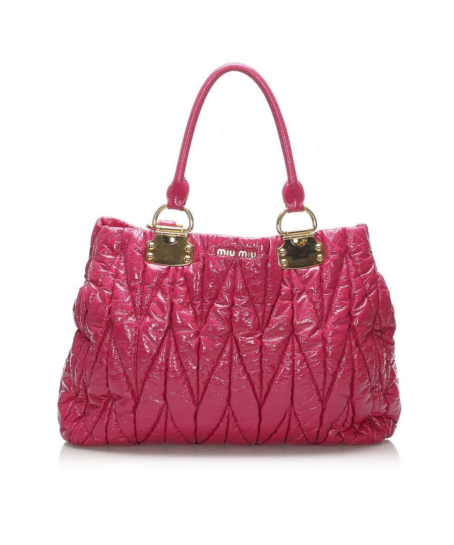 Image for Vintage Miu Miu Matelasse Patent Leather Tote Bag Pink