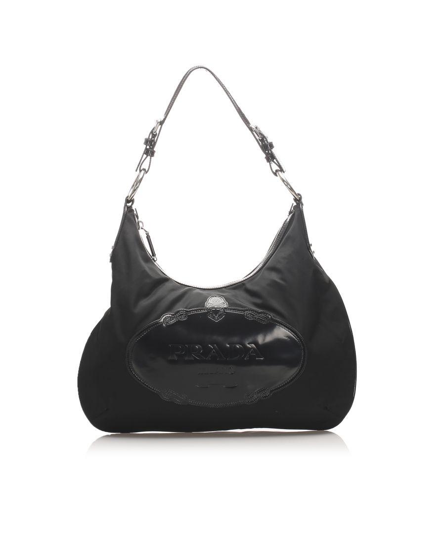 Image for Vintage Prada Tessuto Logo Hobo Bag Black