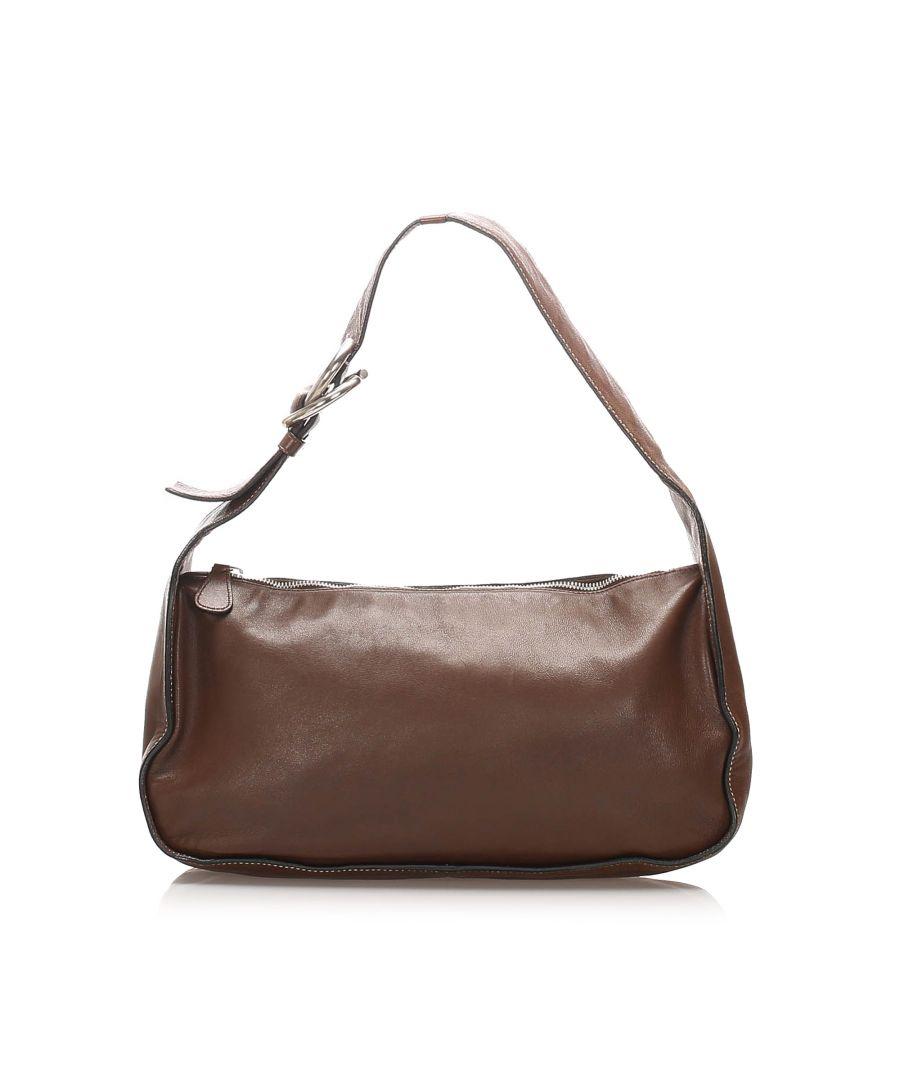 Image for Vintage Prada Leather Baguette Brown