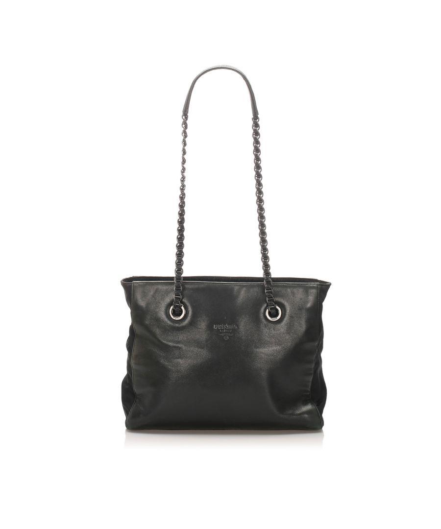 Image for Vintage Prada Leather Shoulder Bag Black