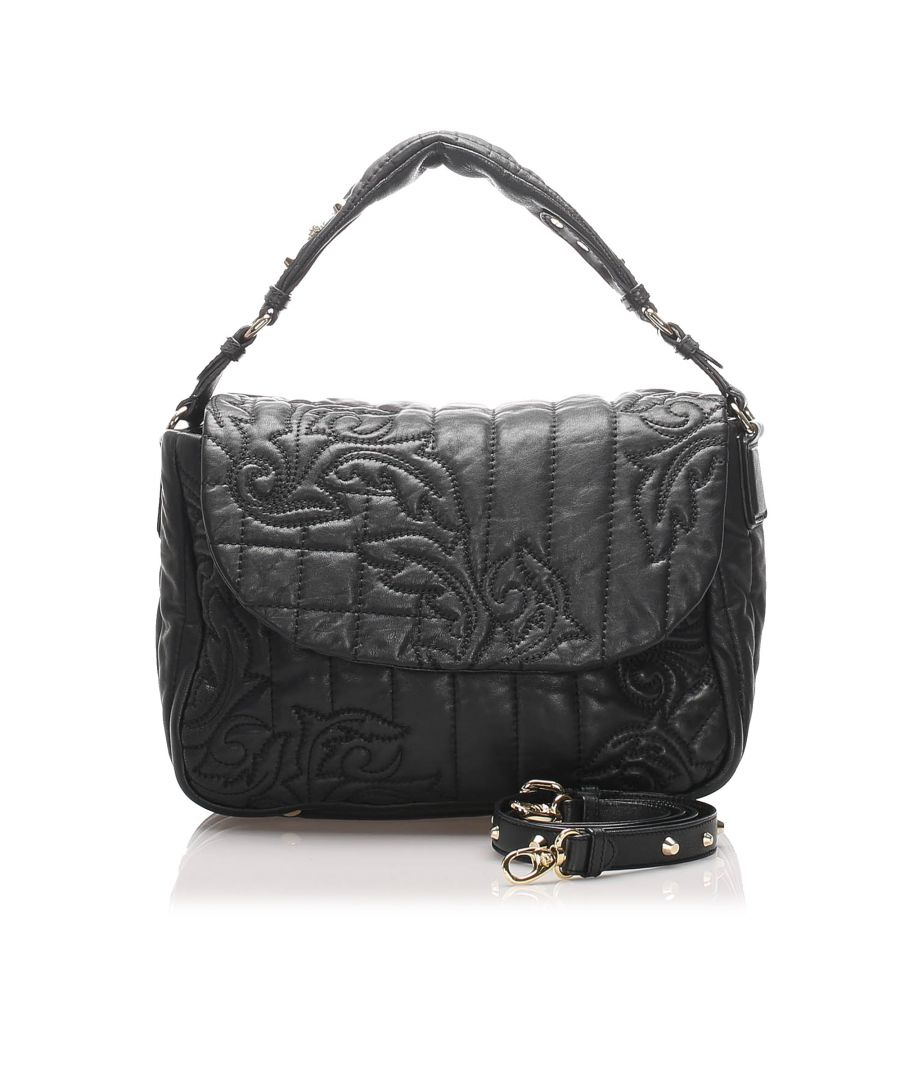 Image for Vintage Versace Vanitas Leather Handbag Black