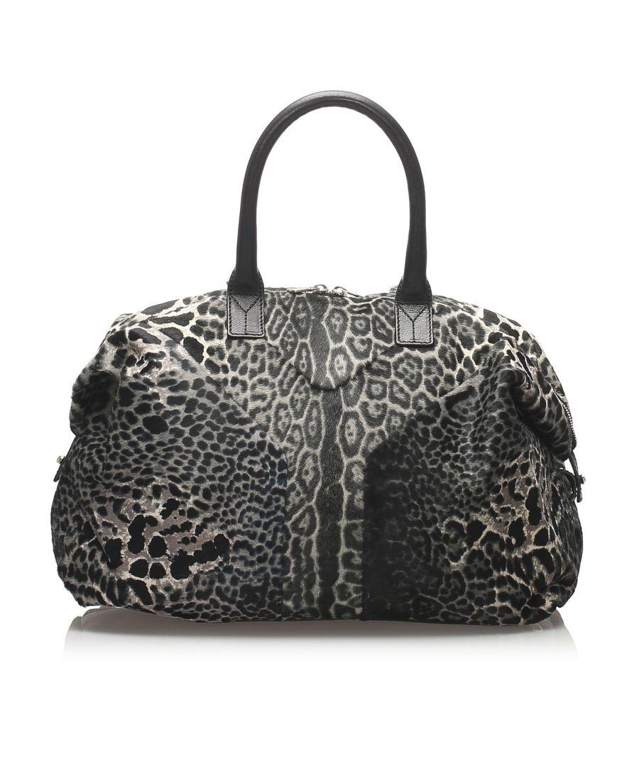 Image for Vintage YSL Leopard Easy Pony Hair Handbag Black