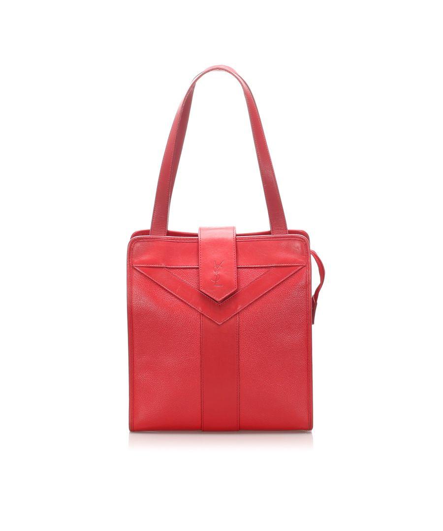 Image for Vintage YSL Monogram Leather Shoulder Bag Red