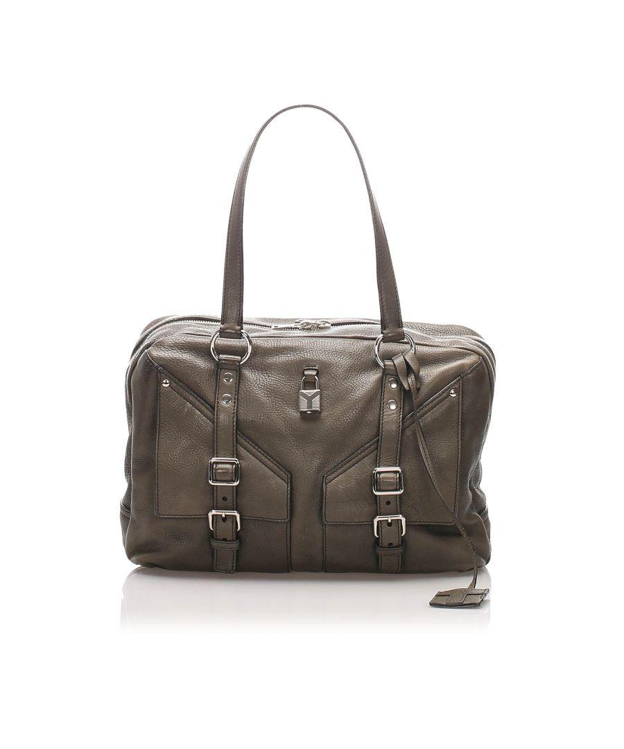 Image for Vintage YSL Lover Leather Shoulder Bag Black