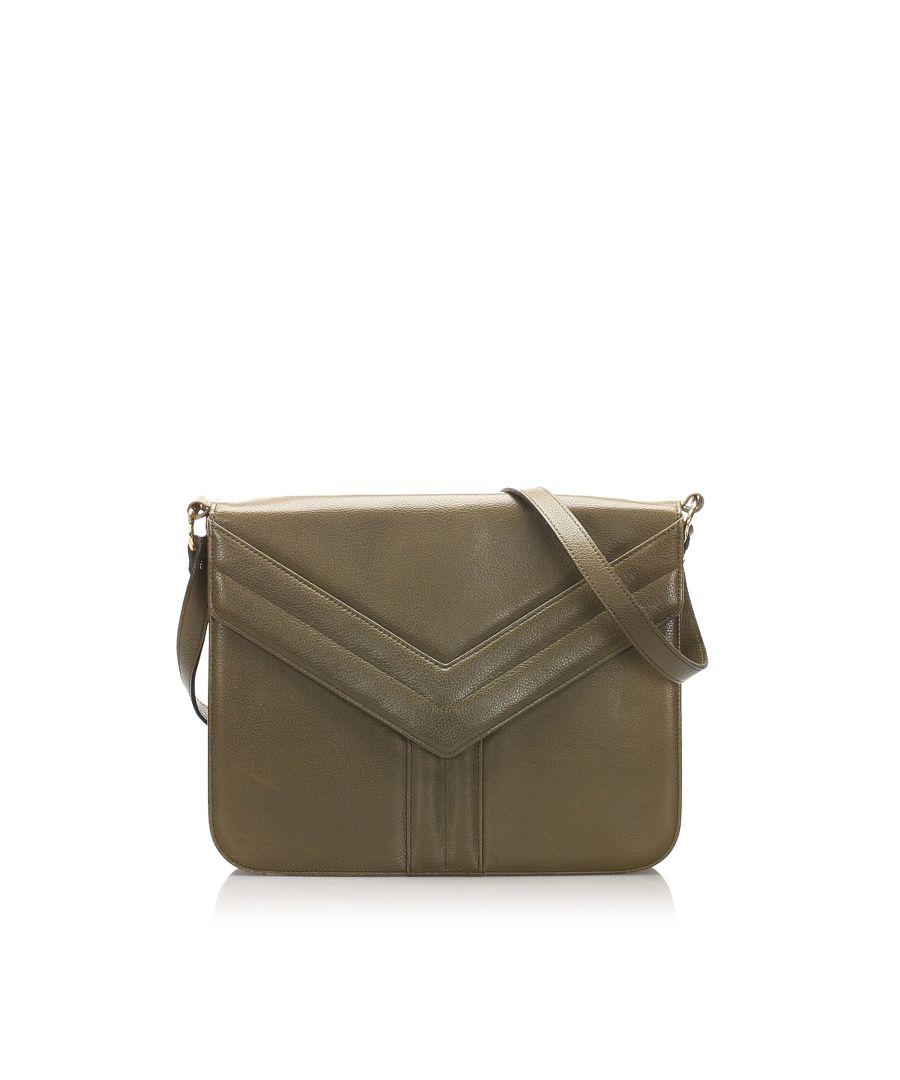 Image for Vintage YSL Easy Y Leather Shoulder Bag Gray