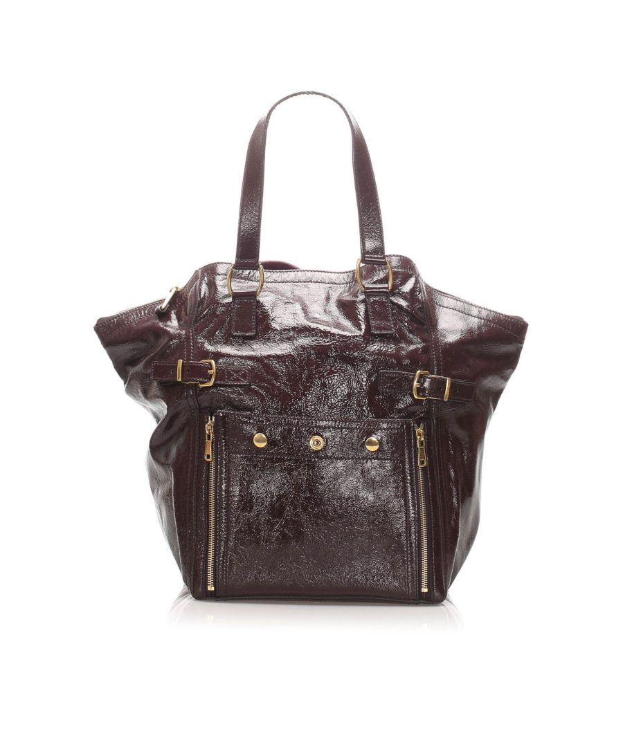 Image for Vintage YSL Downtown Patent Leather Tote Bag Brown