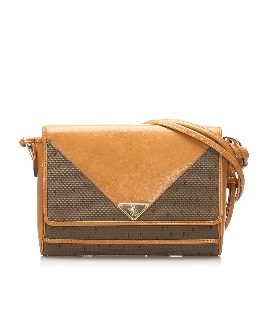 Image for Vintage YSL Canvas Crossbody Bag Brown