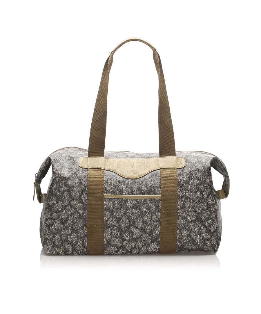 Image for Vintage YSL Printed Duffle Bag Gray