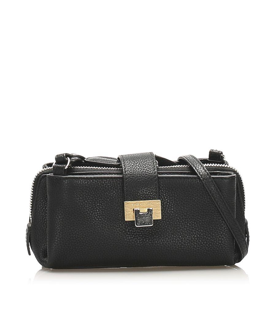 Image for Vintage Balenciaga Leather Crossbody Bag Black